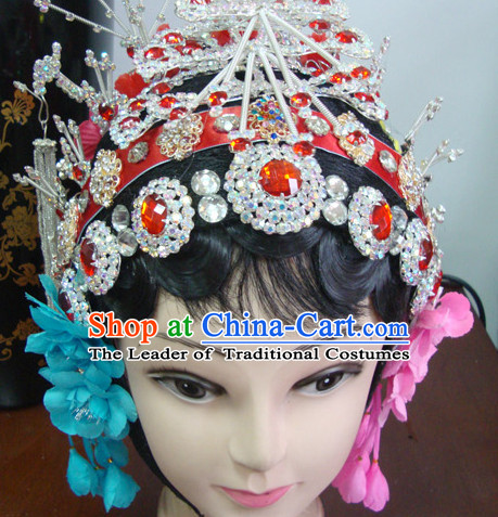 Chinese Opera Stage Theatrical Performances Hua Dan Black Long Wigs and Head Pieces Hair Jewelry Set