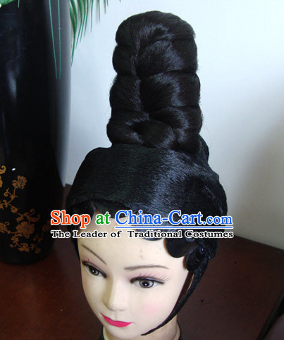 Ancient Chinese Peking Opera Hua Tan Hairstyles Long Black Wigs