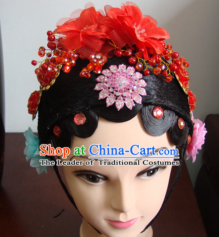 Ancient Chinese Peking Opera Hua Tan Hairstyles Long Black Wigs  Fascinators Fascinator Wholesale Jewelry Hair Pieces