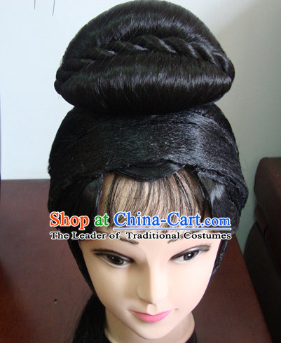 China Stage Performance Qing Yi Hairstyles Long Black Wigs