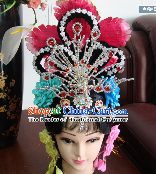 China Stage Performance Hua Tan Phoenix Hairstyles Long Black Wigs Fascinators Fascinator Wholesale Jewelry Hair Pieces