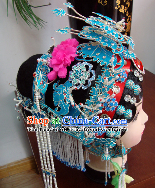 Chinese Peking Cantonese Opera Hua Tan Phoenix Hairstyles Long Black Wigs Fascinators Fascinator Wholesale Jewelry Hair Pieces