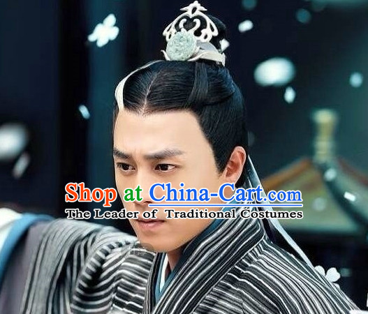 Chinese Ancient Superhero Hair Jewelry and Black Wigs