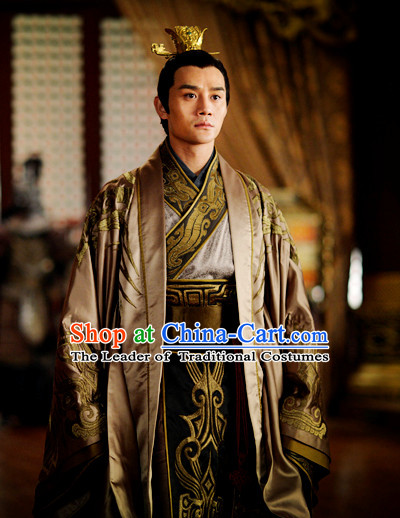Chinese Ancient Emperor Dresses online Designer Halloween Costume Wedding Gowns Dance Costumes Cosplay and Hair Jewelry Complete Set