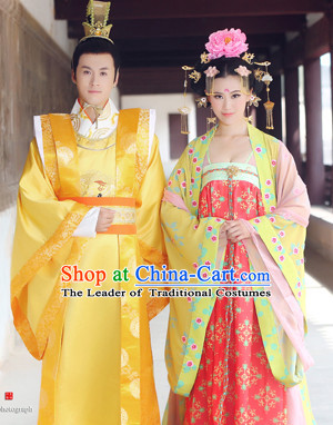 Asian Chinese Emperor and Empress Halloween Costume Cosplay Costumes Superhero Costumes 2 Complete Sets