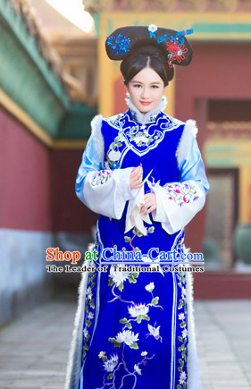 Asian Chinese Ancient Qing Princess Halloween Costume Cosplay Costumes and Hair Accessories Complete Set