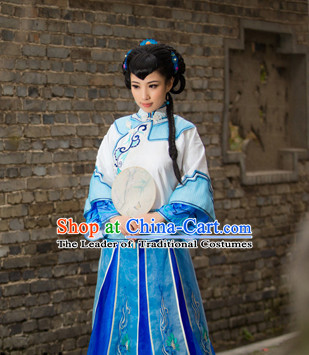 Asian Chinese Qing Dynasty Lady Clothing and Hair Decorations Complete Set