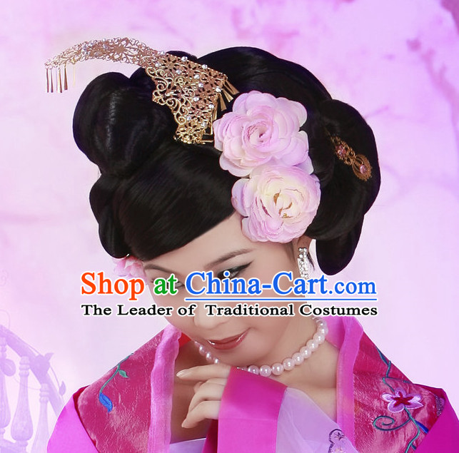 Chinese Ancient Imperial Princess Black Wigs Hairstyles Hair Decorations