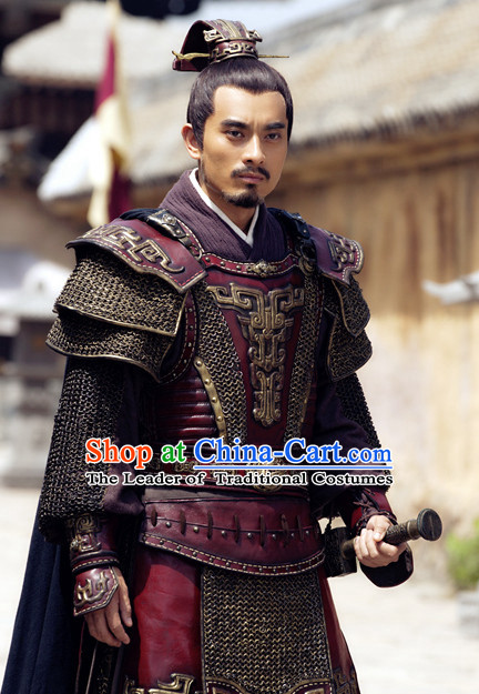 Chinese Ancient General Armor Costumes and Headwear Complete Set for Men