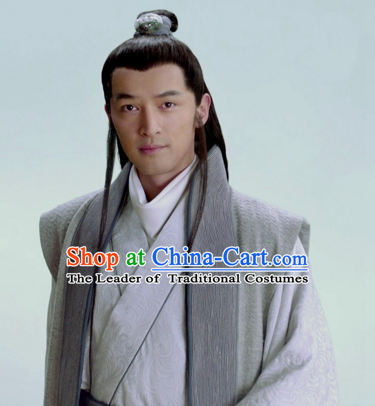 China Ancient Scholar Black Wigs and Hair Accessories