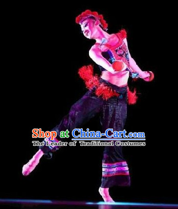 Chinese Folk Ethnic Dance Costume and Headwear Complete Set for Girls or Women