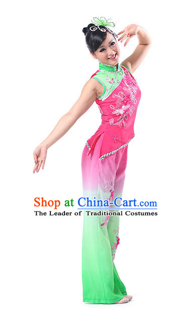 Chinese Folk Fan Dancing Clothes Costume Wholesale Clothing Group Dance Costumes Dancewear Supply for Women