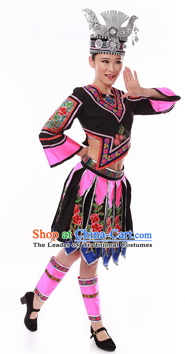 Chinese Folk Miao Dancing Clothes Costume Wholesale Clothing Group Dance Costumes Dancewear Supply for Women