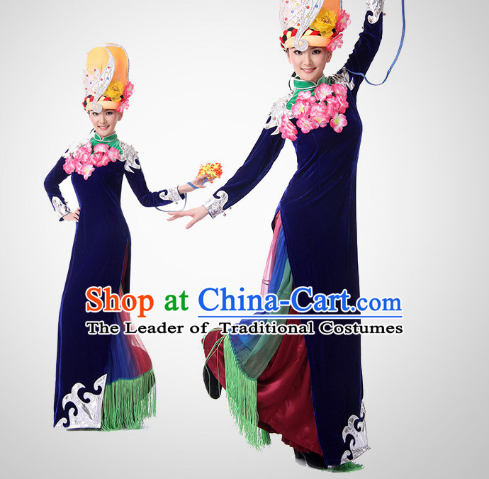 Chinese Minority Dance Outfit Costume Wholesale Clothing Group Dance Costumes Dancewear Supply for Girls