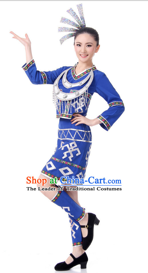 Chinese Folk Ethnic Dance Costume Wholesale Clothing Group Dance Costumes Dancewear Supply for Lady