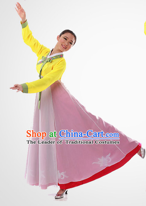 Chinese Folk Korean Fan Dancing Clothes Costume Wholesale Clothing Group Dance Costumes Dancewear Supply for Girls