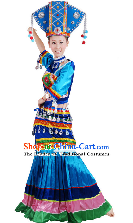 Chinese Folk Ethnic Dance Costume Wholesale Clothing Group Dance Costumes Dancewear Supply for Women