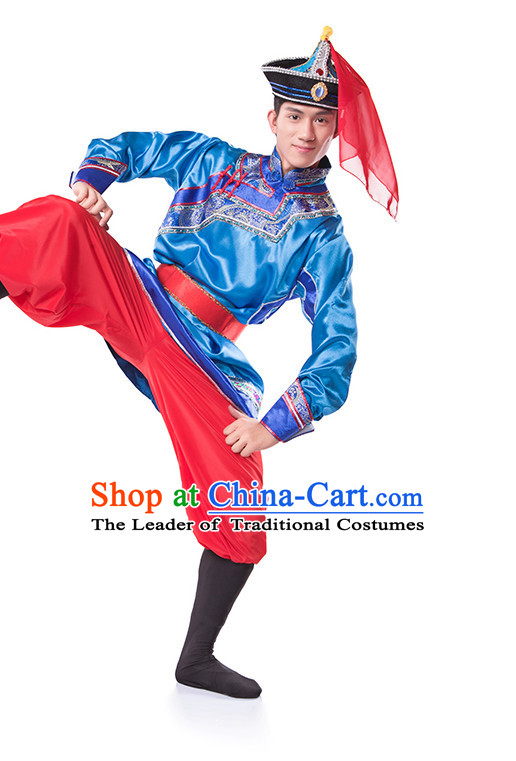 Chinese Folk Mongolian Ethnic Dance Costume Wholesale Clothing Group Dance Costumes Dancewear Supply for Men