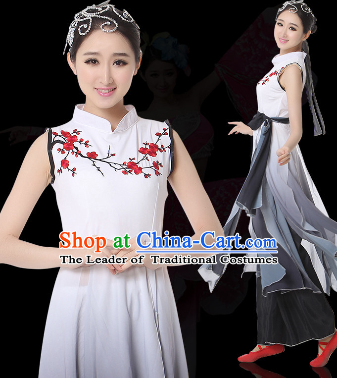 Sleeveless Chinese Classical Dance Costumes Leotards Dance Supply Girls Clothes and Hair Accessories Complete Set