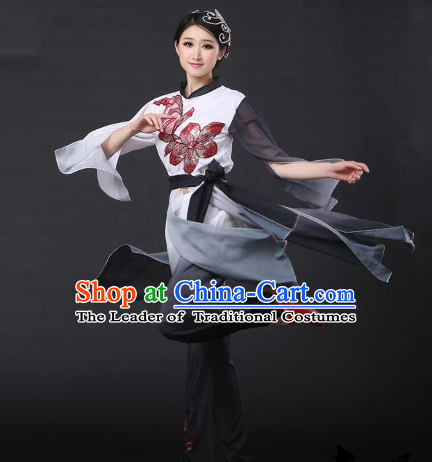 Black White Chinese Classical Girls Dance Costumes Leotards Dance Supply Clothes and Hair Accessories Complete Set