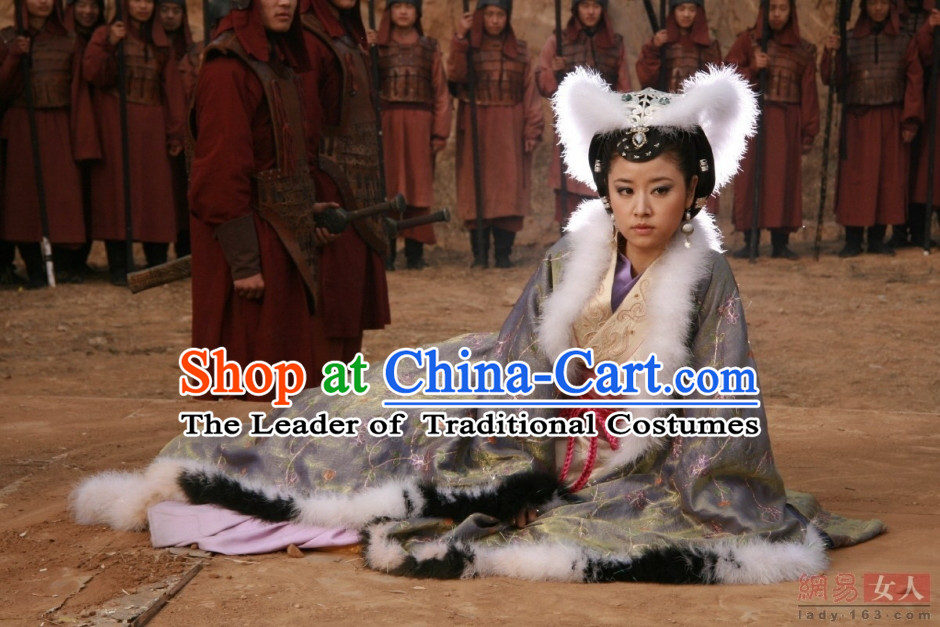 Chinese Shang Dynasty Myth Daji Su Da Ji Fox Spirit Fox Queen Costumes Chinese Costume and Hair Accessories Complete Set