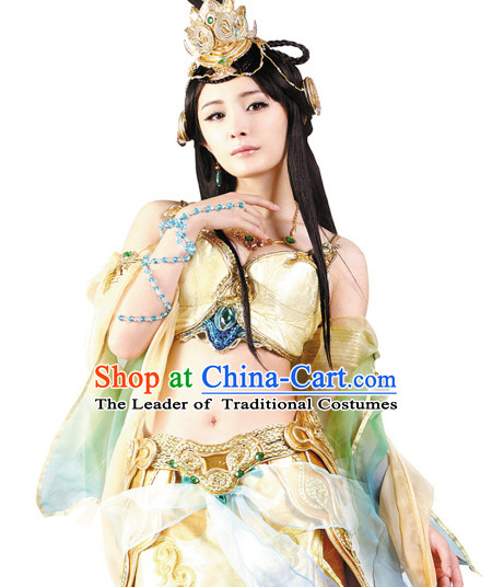 Sexy Chinese Shang Dynasty Myth Daji Su Da Ji Fox Spirit Fox Queen Cosplay Costumes Chinese Costume and Hair Accessories Complete Set