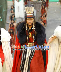 New Stone Age Tribal Leader Costume Xia Dynasty Ancient Yellow Emperor Costumes Huangdi Costumes Legendary Chinese Sovereigns and Culture Heroes Costume Complete Set