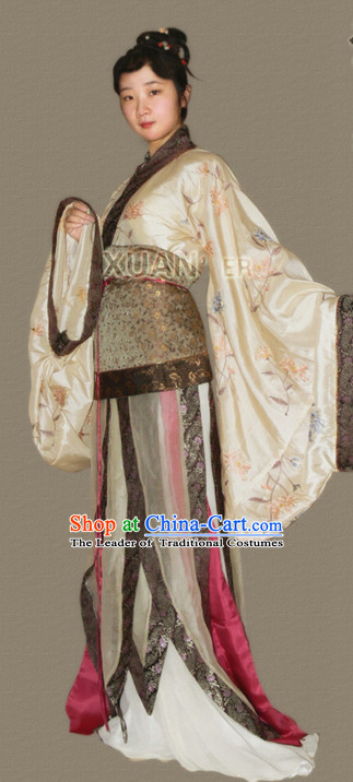 Chinese Southern and Northern Dynasties Female Clothing Outfit Garment Clothes and Headwear Complete Set
