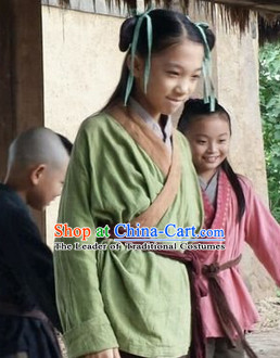Chinese Eastern Zhou Dynasty Kids Clothing Costume Complete Set
