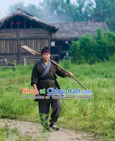 China Eastern Zhou Dynasty Civilian People Men Costume Complete Set