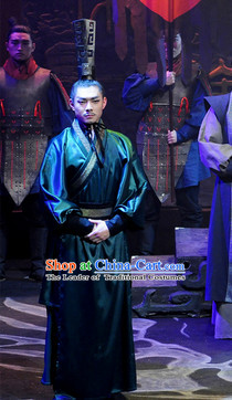 China Eastern Zhou Dynasty Spring Autumn Period Bao Shuya Famous Official Chinese Costume Complete Set for Men