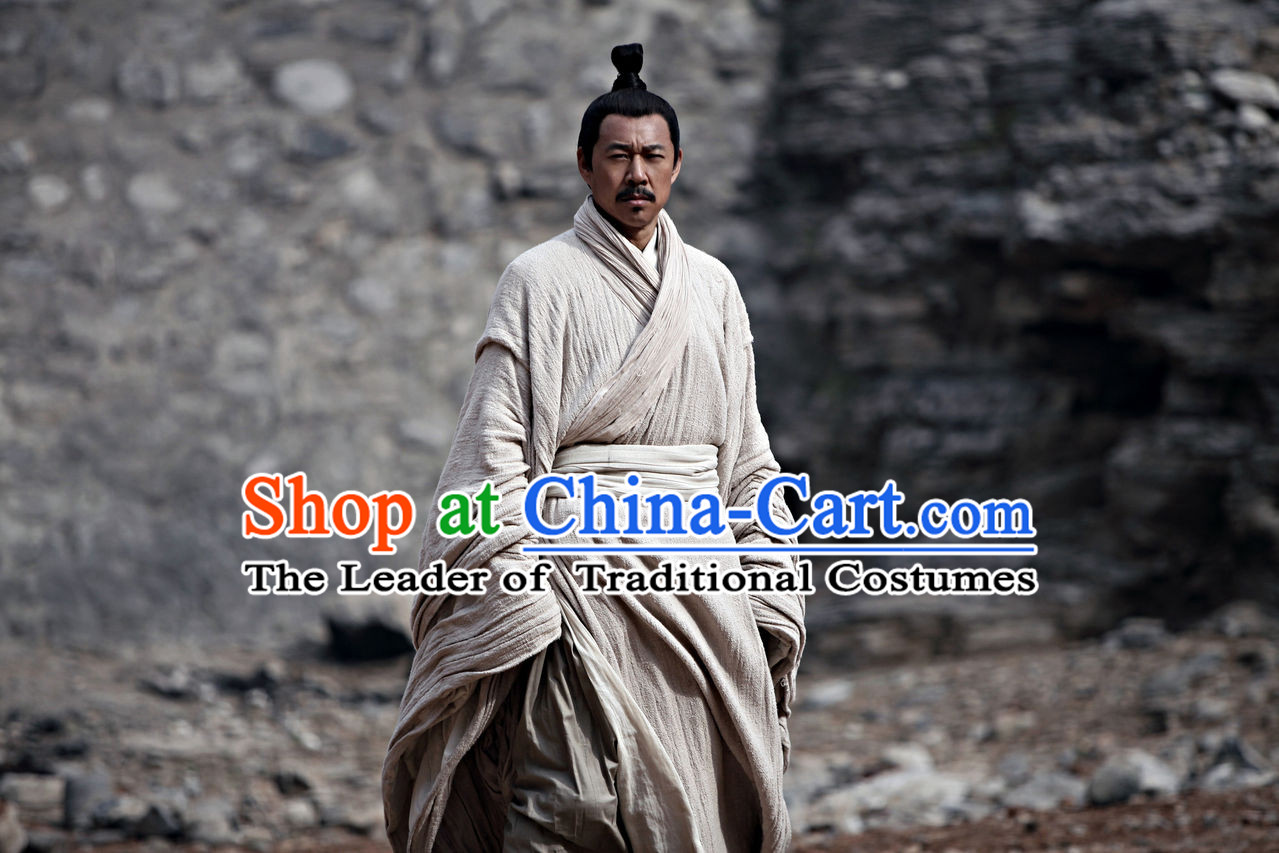 China Eastern Zhou Dynasty Spring Autumn Sun Zi Sun Tzu Chinese Costume Complete Set for Men