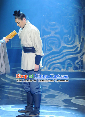 China Eastern Zhou Dynasty Spring Autumn Men Costume Complete Set