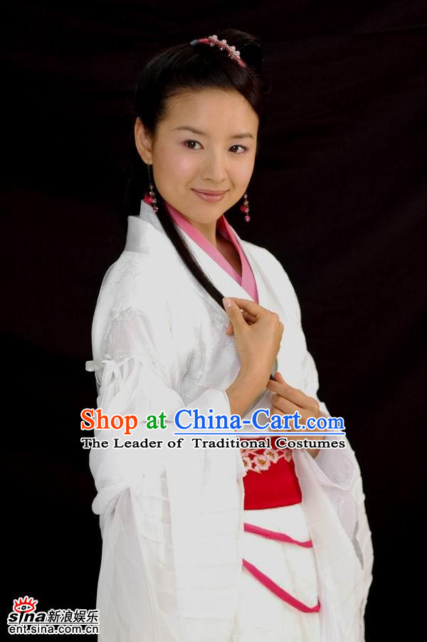 Chinese Costume Chinese Classic Costumes National Garment Outfit Clothing Clothes Ancient Jin Dynasty The Butterfly Lovers Chinese Legend Zhu Yingtai Women Costumes