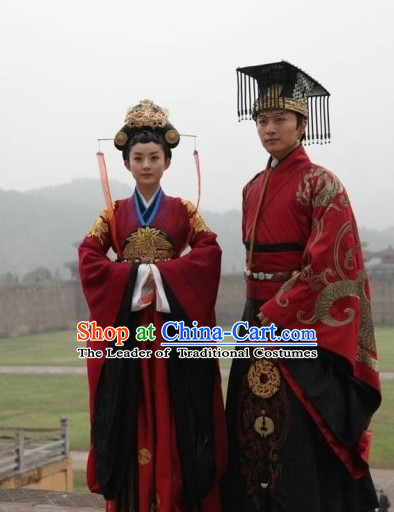 Period of the Northern and Southern Dynasties Chinese Costume Chinese Classic Costumes National Garment Outfit Clothing Clothes Emperor Queen Costume and Hat for Men