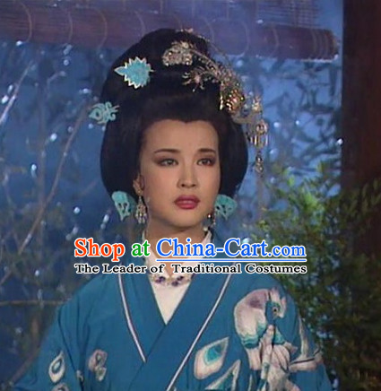 Chinese Tang Dynasty Queen Princess Wigs and Headwear Hair Jewelry for Women