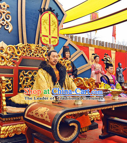 Tang Dynasty Emperor Taizong of Tang Tai Taizong Costumes Suit Garment Outfits Clothing Costumes Costume Complete Set for Men