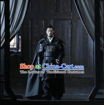 Ancient Chinese Costume Three Kingdoms Military General Zhang Liao Armor Costumes and Hair Accessories Complete Set for Men