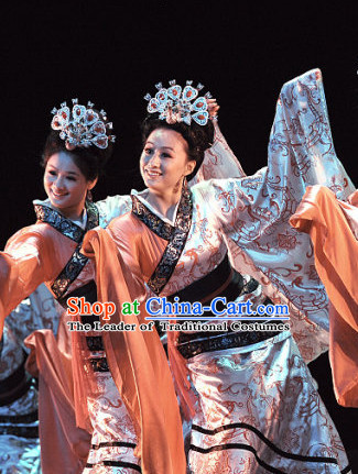 Ancient Chinese Costume Three Kingdoms Dance Costume and Hair Accessories Complete Set for Women