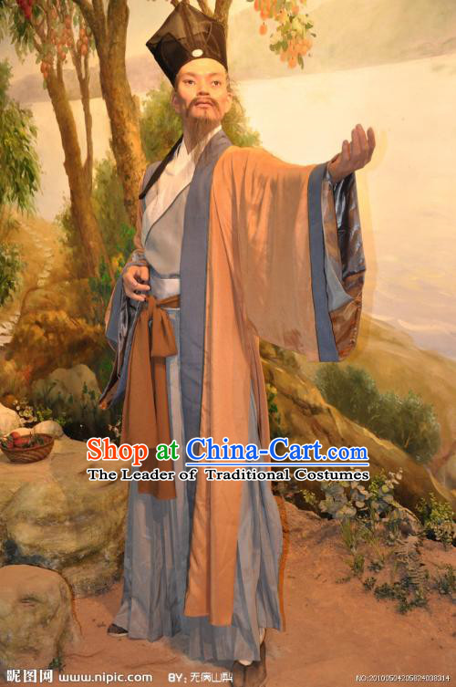 Song Dynasty Chinese Historian Scholar High Chancellor Sima Qian Costume Costumes Dresses Clothing Clothes Garment Outfits Suits Complete Set for Men