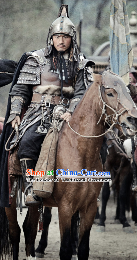 Song Dynasty Superhero Knight General Armor Costume Costumes Dresses Clothing Clothes Garment Outfits Suits Complete Set for Men