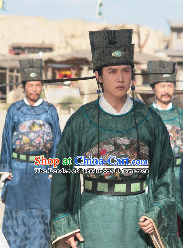 Song Dynasty Wang Zongshi Chancellor Official Costume Costumes Dresses Clothing Clothes Garment Outfits Suits Complete Set for Men