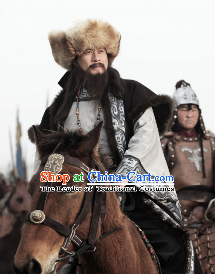 Yuan Dynasty Cheng Ji Si Han Genghis Khan Costume Costumes Dresses Clothing Clothes Garment Outfits Suits Complete Set for Men