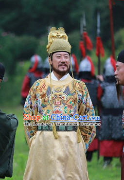 Ming Dynasty Emperor Dragon Robe Costumes Dresses Clothing Clothes Garment Outfits Suits Complete Set for Men