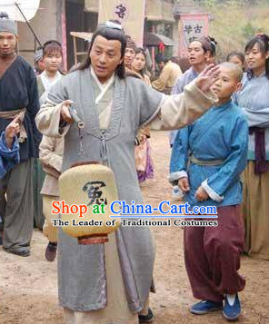 Ming Dynasty Swordsman Costumes Dresses Clothing Clothes Garment Outfits Suits Complete Set for Men