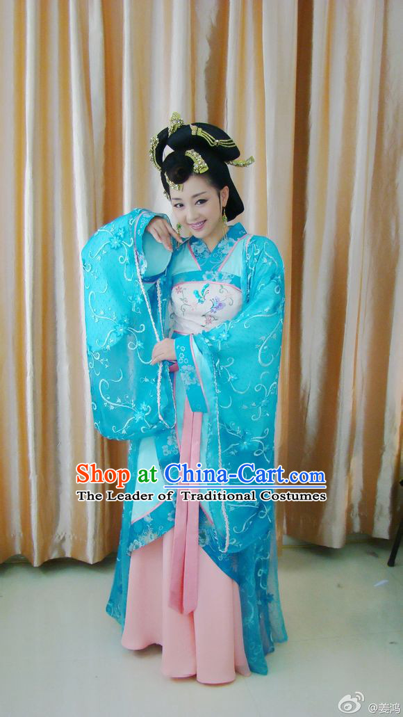 Chinese Costume Beauty Xi Shi Costumes Dresses Clothing Clothes Garment Outfits Suits Complete Set for Women