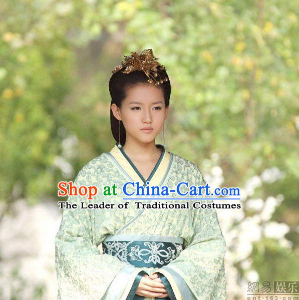 Chinese Han Dynasty Palace Lady Wigs and Hair Accessories for Women