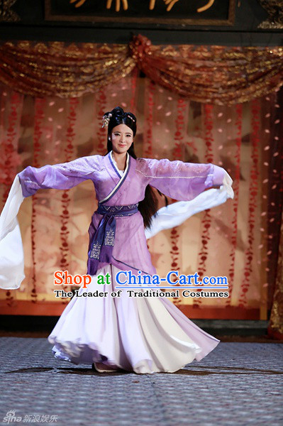 Chinese Han Dynasty Dancer Costume Beauty Clothing Costumes Dresses Clothing Clothes Garment Outfits Suits Complete Set for Women
