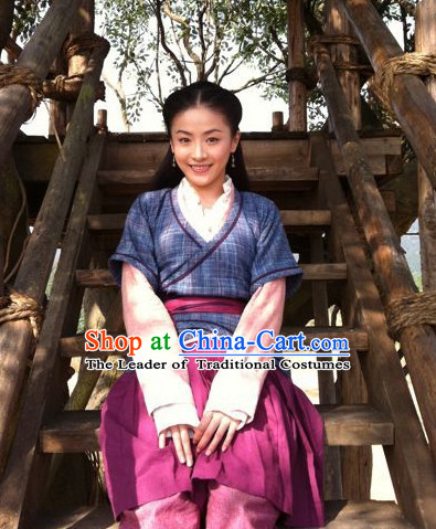 Chinese Han Dynasty Clothing Costumes Dresses Clothing Clothes Garment Outfits Suits Complete Set for Women