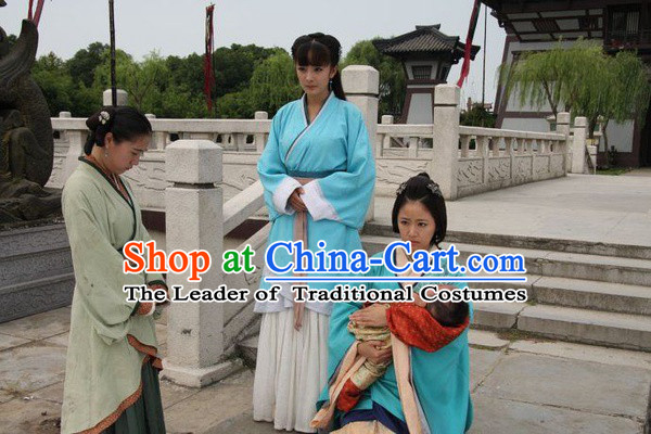 Chinese Han Dynasty Blue Clothing Costumes Dresses Clothing Clothes Garment Outfits Suits Complete Set for Women